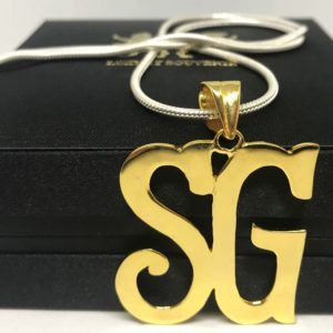 Monogram Over-sized Pendant With Chain